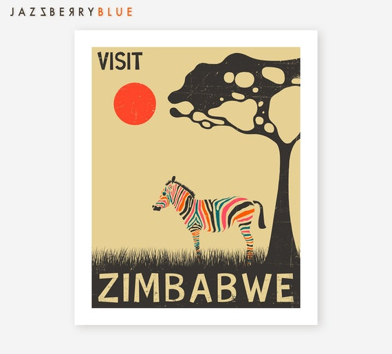Zimbabwe African Travel Poster Pop Artwork Giclee By