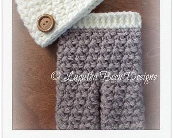 Brendan hat and pants pattern set - chunky pants crochet pattern - newborn size only- instant download