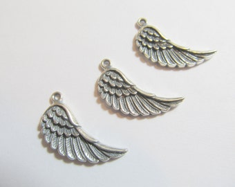1 23x16.5x2mm Right Antiqued Sterling Silver Bali Angel Wing Drop, Dangle, Charm, Pendant