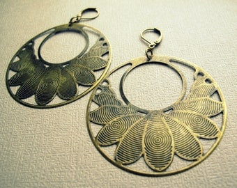 Tribal Brass Earrings - Mandala Earrings - Boho Hoop Earrings - Boho Earrings - Tribal Earrings - Lotus Earrings - Brass Hoop Earrings