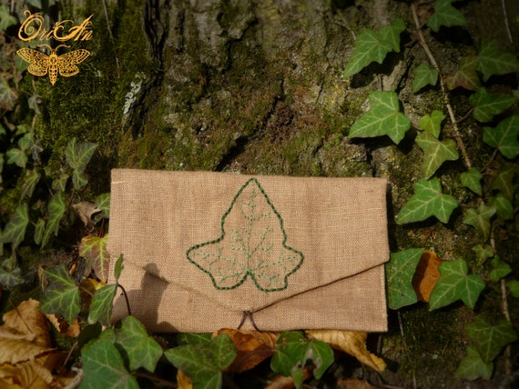 Hand sewed leaf pouch embroidery bag wallet by
