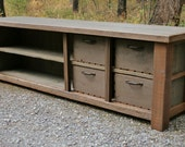 Custom Reclaimed Entry Bench Stacked Cubbies for Ryan in VA - Final 50%