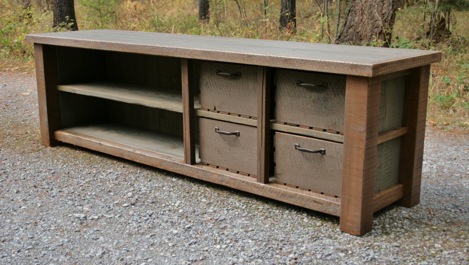 Rustic Reclaimed Entry Bench Stacked Cubbies By Echopeakdesign Etsy