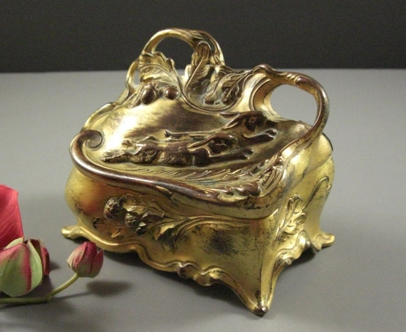 jb jennings brothers ormolu jewelry casket box original