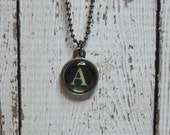 Initial A Charm Necklace, Vintage Style Typewriter Key Charm, Mini Initial Charm Necklace, Letter A on Ball Chain