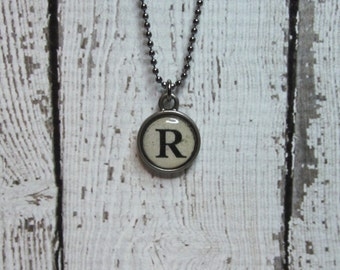Initial R Charm Necklace, Vintage Style Typewriter Key Charm, Mini Initial Charm Necklace, Letter R on Ball Chain