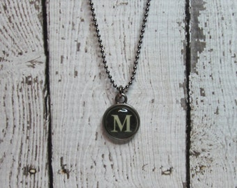 Initial M Charm Necklace, Vintage Style Typewriter Key Charm, Mini Initial Charm Necklace, Letter M on Ball Chain