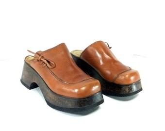 7 Platform Wooden Clogs - Brown Leather Platform Clogs 7 - Boho Mules 7