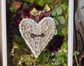 Moss Wall Art - Anniversary Gift - 1st Anniversary Gift  -Moss Terrarium -  Shadow Box Art - Key and Heart