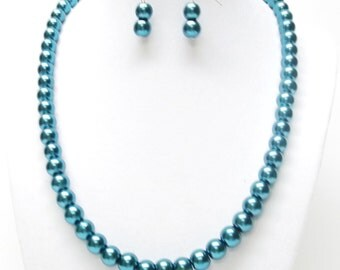 8mm Dark Teal Green Glass Pearl Necklace with Earrings Set