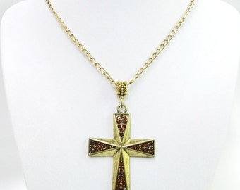 Gold Plated Cross w/Red Rhinestone Pendant Necklace