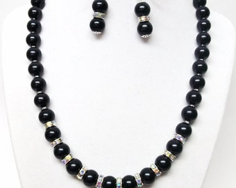 Black Glass Pearl Necklace and Rondelle Crystal Rhinestones Bead Necklace & Earrings Set