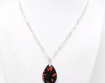 Swarovski Dichroic Black & Rust Fused Glass Teardrop Pendant Necklace