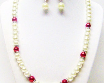Ecru w/Red Glass Pearl & Rondelle Crystal Necklace/Bracelet and Earrings Set