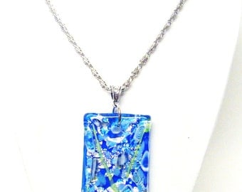 Beautiful Chunky Square Blue Dichroic Fused Glass Pendant Necklace