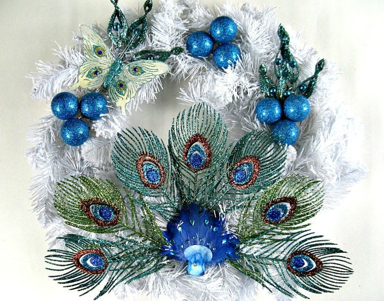 Peacock Christmas Wreath Holiday Decoration Winter