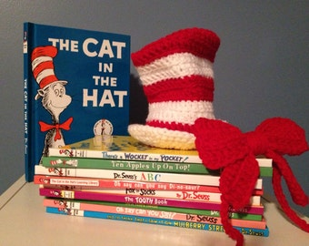 Cat in the Hat Dr. Seuss crochet Hat and Bow Tie Newborn Photo Prop