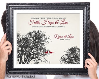 FAITH HOPE LOVE, Corinthians, Birds, Personalized Couples Wedding Gift, 50th Anniversary Wedding Gift, 1st Anniversary, Gift for Wife, Tree