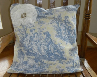 toile pillow cover 18 x 18
