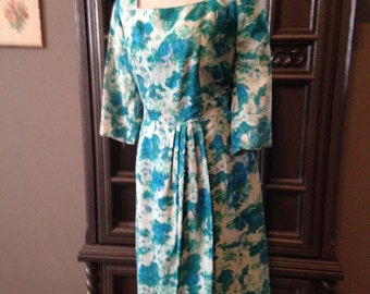 Summer Blue Floral 50s 60s Drape front Wiggle Dress