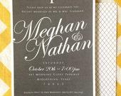Chalkboard Wedding Invitation with Script Names, elegant chalkboard wedding shower invitation, digital file