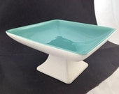 Vintage Square Pedestal Bowl Turquoise and Textured White Pottery Haeger USA RG-170