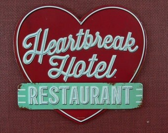 Heartbreak Hotel, Restaurant, Metal Sign, Embossed Letters, MG-347