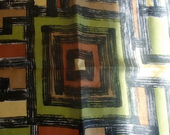 SILK TRIBAL PRINT Scarf Greens and Coco Browns Buy 3 Get 4th Scarf Free