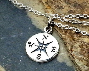 Compass Necklace - 925 Sterling Silver Navigation Nautical Graduation Charm NEW