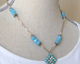 Blue rhinestone necklace - Blue crystal wirewrapped chain necklace
