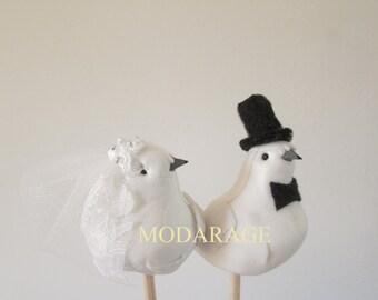 SALE White Love Bird Wedding Cake Topper, Wedding Bird Cake Topper Style # BC2022