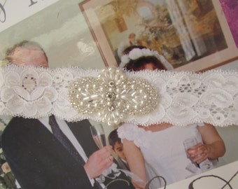 SALE Wedding Garter,White lace Garter - Rhinestone Wedding Toss Garter