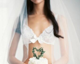 Romantic Bohemian Juliet Cap Veil with Modern Lace Chapel length