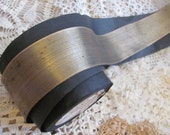 """Kuglers Antique French Early Century Gold Metal Lame Ribbon 2"""" Wide ONE YARD (#27)"""