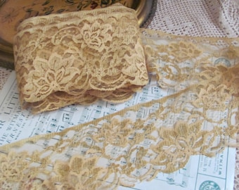 Lace Vintage Extra Wide Gold Floral Lace  - 4 Inches Wide -  By The Yard #119