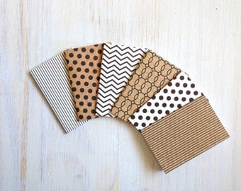 Notebooks: Small Notebooks, Christmas, Stocking Stuffer, Black, White, Brown, Mini Journals, Christmas Party Favors, 6 Tiny Journal Set T150