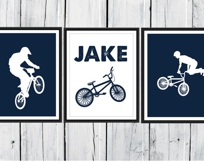 Bike Rider Print Set - BMX - 3 Piece Set - Choose Size and Colors