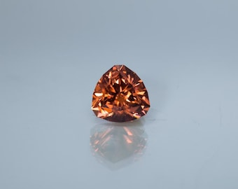 5.3ct- 9.5mm Faceted Orange/Brown Trillion cut Zircon loose gemstone from Tanzania