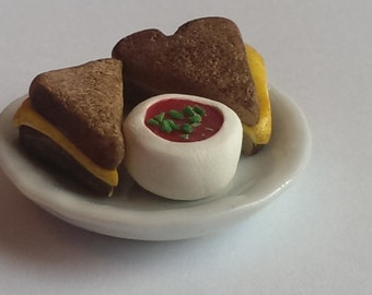 Miniature Grilled Cheese Texas Toast Tomato Soup Food Playscale
