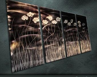 "Original Metal Wall Art Modern Handmade Painting Sculpture Indoor Outdoor Decor ""Exotic Flowers"" by Ning"