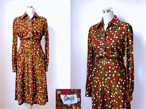 Vintage Carnegie of London Suit / 1970's Skirt and Shirt Two Piece / Forest Green, Gold and Russet