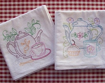 Embroidered Teapot Designs on Flour Sack Towels