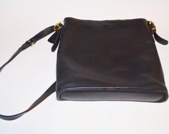 Coach Purse, Black Leather Purse, Vintage Crossbody Bag, Women's Shoulder Bag
