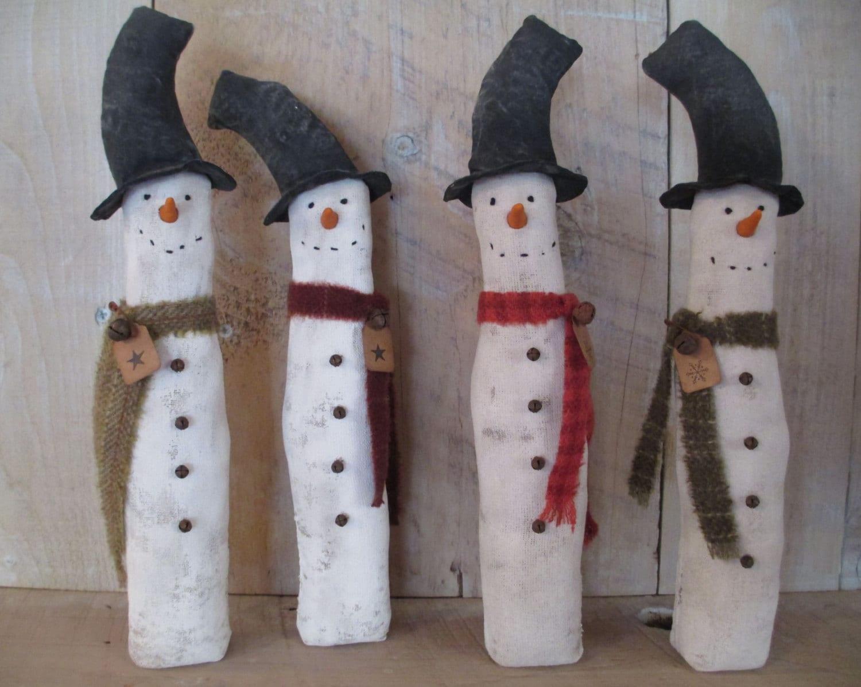 Handmade Primitive Snowman Figure, Standing snowman