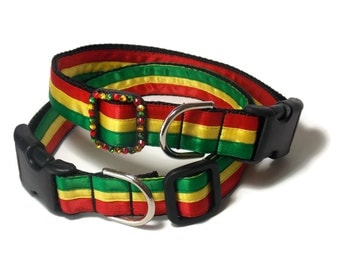 Rasta Inspired Dog Collar