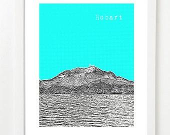 Tasmania Art Print - Hobart Tasmania Skyline Poster - Hobart, Tasmania -