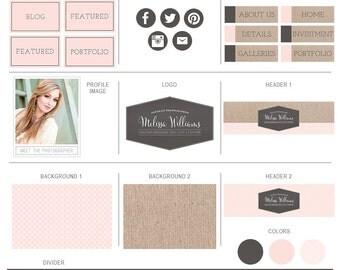 Blog Kit - Blog Set for Wordpress, Blogger, Bludomain, Pro Photo - Blog Website Elements - Photoshop Templates - BMK141