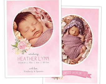 Birth Announcement Template for Photographers - Baby Girl Photo Card Template - Watercolor Photography Photoshop Template - BA156
