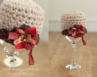 Newborn Baby girls crochet beanie hat with flower and embellishment. Autumn Fall baby hat. Winter Hat. Photo Prop. UK Seller