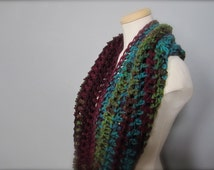 Crochet Teal, Burgundy, Green, Brown, Red, Multicolor, Cowl Neck Scarf, Women's Scarf, Men's Scarf, Unisex Scarf, Women's Cowl, Men's Cowl